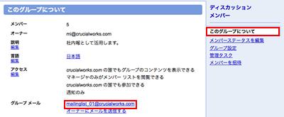 グループ専用のメールアドレス