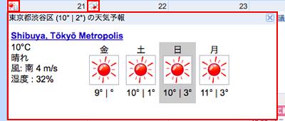 天気情報が表示