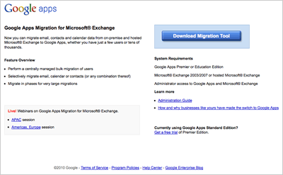 Google Apps Migration for Microsoft Exchangeをリリース
